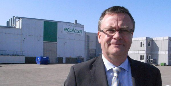 Ecolean CEO Peter L Nilsson in front of the Helsingborg plant in Sweden